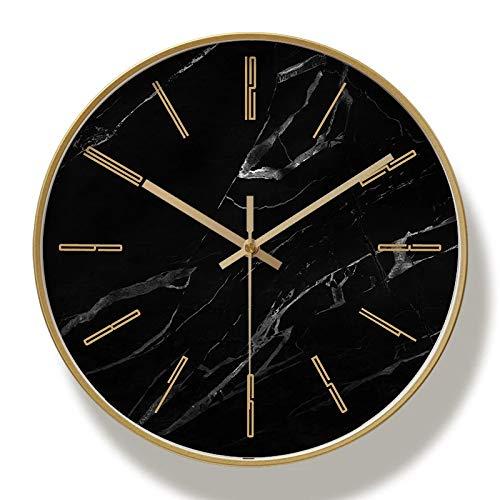 hufeng Reloj de Pared Reloj de Pared de Metal Dorado Reloj de Pared Grande Moderno Sala de Estar silenciosa Dormitorio Relojes de mármol Pared Decoración para el hogar Regalo 12 Pulgadas