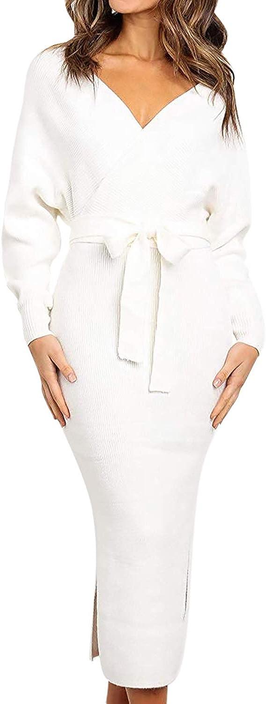 Viottiset Women's V Neck Long Batwing Sleeve Wrap Midi Knit Sweater Dress Elegant Backless with Belt Slit