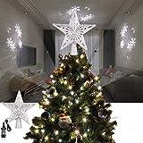 ALLOMN Illuminazione Natalizia, Albero di Natale Topper Luce del Proiettore Glitter 3D Illuminato Stella Albero Topper con LED Regolabile Cavo da 3 m, Spina Europea (Tempesta di Neve)