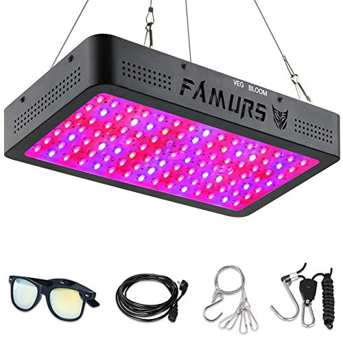 FAMURS 1500W LED Grow Light, Plant Grow Lamp with Swithces and Adjustable Rope,Full Spectrum Plant Light for Indoor Plants Seeding Veg and Flower