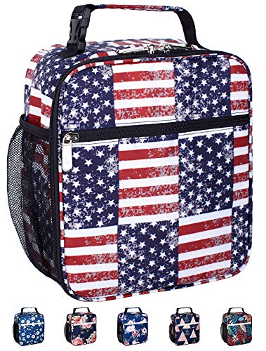 Leakproof Insulated Reusable Cooler Lunch Bag - Durable Compact Office Work School Lunch Box with Multi-Pockets & Detachable Buckle Handle for Women,Men and Kids-Flag American