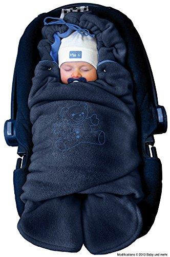 ByBoom - Baby Winter-Einschlagdecke 'Das Original mit dem Bären', Universal für Babyschale, Autositz, z.B. für Maxi-Cosi, Römer, für Kinderwagen, Buggy oder Babybett, Farbe:Dunkelblau/Blau