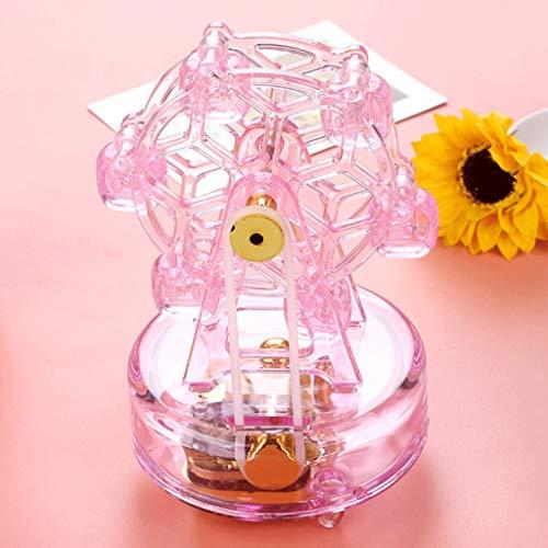 SHYPT Caja de música giratoria con Rueda de la Fortuna, Caja de música de Cristal Transparente con Flash, Caja de relojería, decoración Artesanal, Regalo