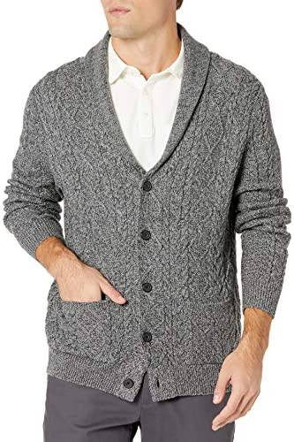 Amazon Brand Goodthreads Men s Supersoft Long Sleeve Shawl Collar Cable Knit Cardigan Sweater product image