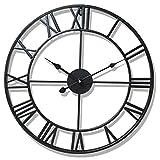 Soldmore7 Superbe Horloge à Chiffres Romains en métal, Mur Squelette Silencieux intérieur/Jardin Grand Chiffre à Chiffres Ouverts Horloge en métal à Face Ouverte Horloges murales en Fer Rond