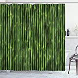 Ambesonne Bamboo Shower Curtain, Bamboo Stems Pattern Tropical Nature Inspired Background Print Wildlife Theme, Cloth Fabric Bathroom Decor Set with Hooks, 70' Long, Green