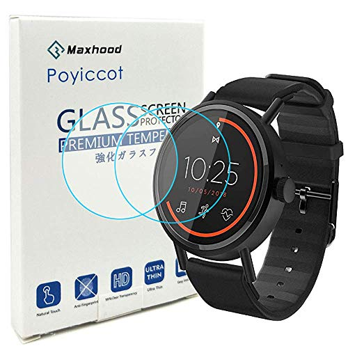 Poyiccot for Misfit Vapor 2 (41mm) Screen Protector Tempered Glass, 0.3mm Ultra-Thin 9H Hardness Anti-Fingerprint Tempered Glass Screen Protector for Misfit Vapor 2 41mm