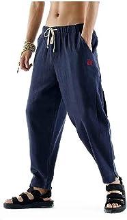 MogogNMen Harem Cotton Linen Retro Trousers Baggy Running Trousers