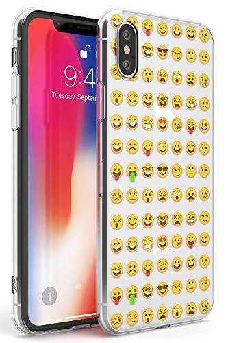 Claro Patrón Emoji Funda de Teléfono de Goma Slim Cover para iPhone XR Emoticon Emojis Linda Gracioso Teclado