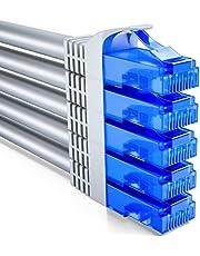 deleyCON 5x 0,5m CAT6 Nätverkskabel Set - U-UTP RJ45 CAT-6 LAN Kabel Patch-Kabel Ethernet-Kabel DSL Switch Router Modem Repeater Patch-Panel - Grå