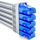 deleyCON 5X 0,5m CAT6 Cable de Red U-UTP RJ45 Cat-6 Cable LAN Cable de Parche Cobre para Switch Router Módem Repetidor Patch Panel - Gris