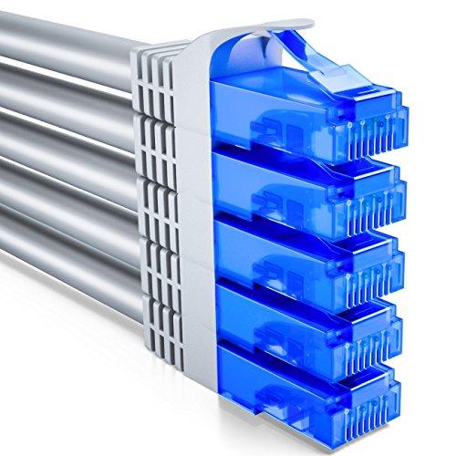 deleyCON 5X 0,5m CAT6 CAT6 Netzwerkkabel Set - U-UTP RJ45 CAT-6 LAN Kabel Patchkabel Ethernetkabel DSL Switch Router Modem Repeater Patchpanel - Grau