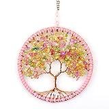 InFreesh Árbol de la vida colgante, decoración de pared, decoración de ventanas, decoración para colgar, diseño creativo de regalo, amuleto de la suerte, árbol de la vida, pequeño y hermoso (rosa)