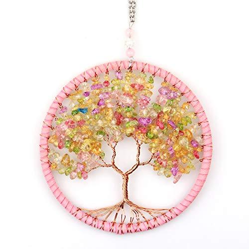 Ytesky Colgante con diseño de árbol de la Vida, Hecho a Mano, con Piedras Naturales, atrapasueños, decoración para salón, balcón, jardín, Coche (Rosa)