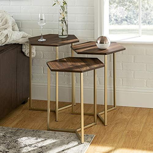 Best WE Furniture Modern Hexagon Nesting Side End Table Set Living Room, Set Of 3, Walnut Brown, Gold