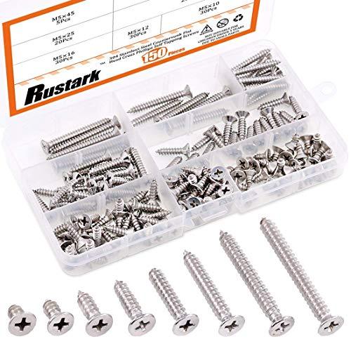 Rustark 150Pcs M5 [10-45mm] 304 Stainless Steel Flat Head Phillips Cross Wood Screw Self Tapping Drilling Screws Assortment Kit