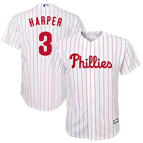 Outerstuff Youth #3 Bryce Harper Philadelphia Phillies Player Jersey - White Scarlet S