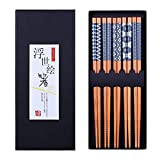 Antner 5 Pairs Natural Bamboo Chopsticks Reusable Classic Japanese Style Chop Sticks Gift Sets,...