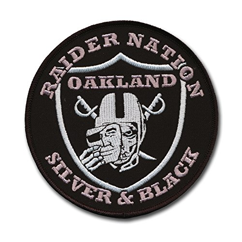 Large Oakland Raider Football Nation Patch (4 1/2') Silver and Black Pride - Wax Backing and Merrowed Edge