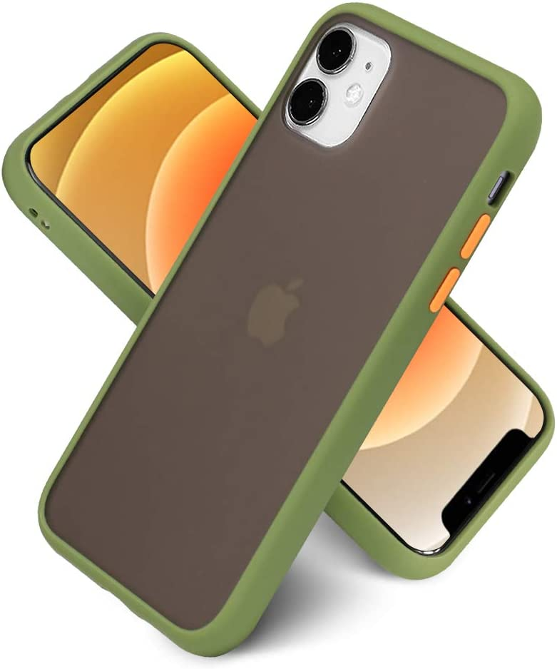 LITTLETREE Compatible with iPhone 11 Case Matte Translucent, Clear Black   Anti-Scratch   Smooth Feel  Slim TPU Silicone Bumper Protective Cell Phone Case 6.1 Inch. (Army Green)