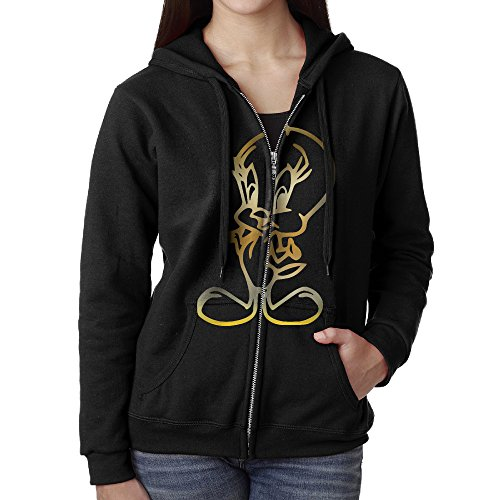 Women Tweety Bird Vinyl Gold Logo Hoodie Sweatshirt Black