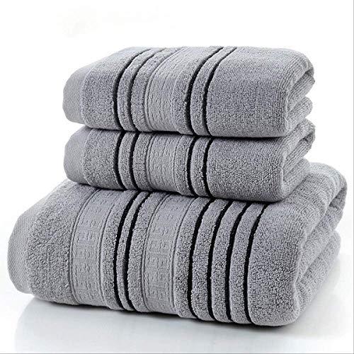 Nuevo juego de 3 piezas Juego de toallas de algodón gris para hombres 2 piezas de toalla facial Toallas de mano 1 pieza de toallas de baño Toallas de ducha de camping Juego de toallas de baño 3 piezas Gris claro