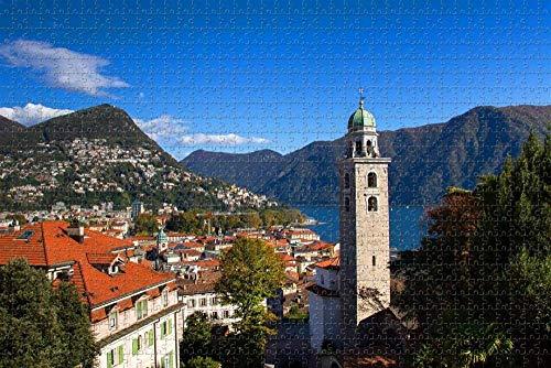 Rompecabezas para Adultos Lugano Ticino Suiza Puzzle 1000 Piezas Regalo de Recuerdo de Viaje de Madera