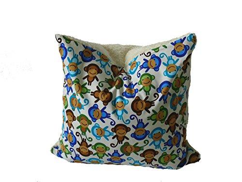 Fitzibiz Kinderkissenbezug Jacob, Öko-Teddy, Affendruck, weiß, 50x50cm auch in anderen Größen verfügbar