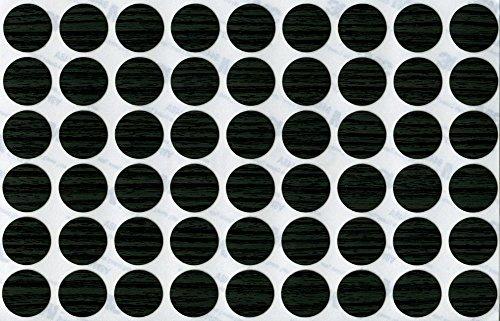 KwikCaps® PVC Arbre Nordique Noir Cache-vis adhésifs VBA plus Trous de forage Clous Came [Diamètre 20 mm Feuille simple de 54]
