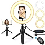 Selfie Ring Light with Tripod Stand and Phone Holder, 9'Dimmable Desktop LED Circle Light Ringlight for Live Stream, Makeup, YouTube, Video Shooting with Remote Control, 3 Light Modes & 10 Brightness