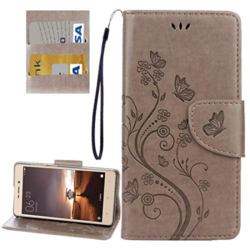 EASON Phone Case -For Xiaomi Redmi 3 Pro / 3s Butterflies Love Flowers Embossing Horizontal Toss Leather Case with Holder & Card Slots & Wallet & Lanyard(Black) Phone (Color : Grey)