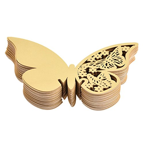 AKOAK Pearlized Paper Butterfly Table Number Place Card Name Card Wine Glass Cup Decoration Wall Decals Sticker for Wedding Party Favor Decor,50 Counts (Gold)