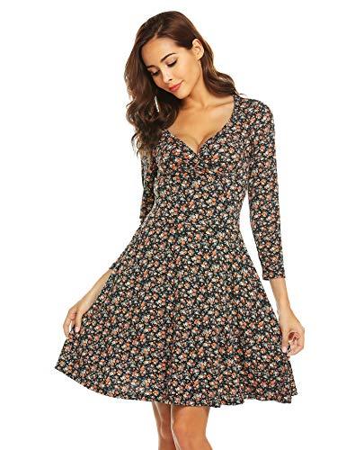 Beyove Damen Jersey Kleid Blumen Skaterkleid V-Ausschnitt Sommerkleider Muster Jerseykleid Sexy Kurz oder Langarm D-orange XL