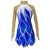 Kmgjc Competencia de Patinaje Patinaje sobre Hielo Vestido Blue Sky Spandex de Alta Elasticidad Athleisure al Aire Libre de Las Muchachas Mujeres Ropa térmica Manera Hecha a Mano de Patinaje,Azul,S