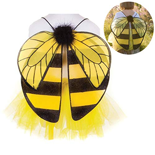 ZOYLINK Bee Wings Bee Cosplay Disfraz Creativo Simulado Ropa Chal Hada Disfraz Fiesta Prop Para Niños Honeybee Fancy Dress Up