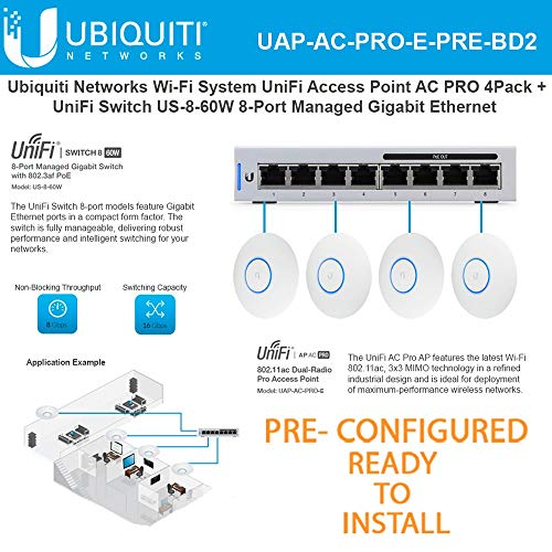 UniFi AC PRO Wireless Access Point PRE-CONFIGURED (4-Pack) Wi-Fi 802.11ac Dual-Radio 3X3 MIMO with UniFi Switch 8 US-8-60W 8-Port Managed