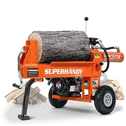 SuperHandy Log Splitter Portable 20 Ton Rapid Auto Return Ram System Bucher Gear Pump 7HP Engine Horizontal Full Beam Steel Wedge Firewood Splitting Forestry Harvesting