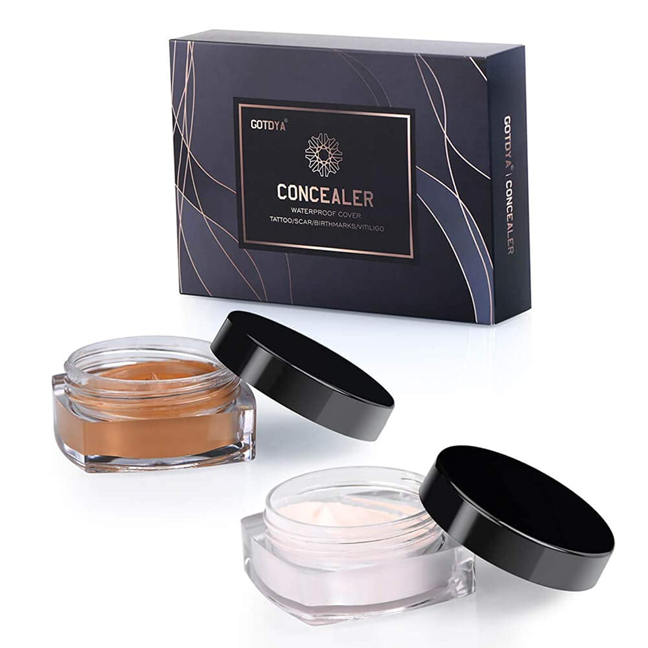 Concealer Set for Tattoo Cover Up Makeup Waterproof, Professional Concealer Cream Kit to Covers Vitiligo, Birthmarks, Scar, Tattoos and other Skin Dark Spots