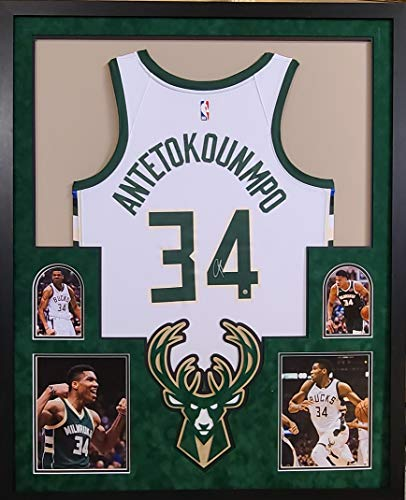 Giannis Antetokounmpo Milwaukee Bucks Autographed Signed Custom Framed Jersey White Swingman Licensed Jersey Steiner Certified