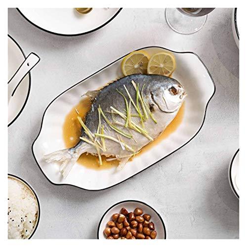 JSJJAET Plato de Cena Rectángulo Cena Cena Platos Fruta Plato Plato de Sushi Placa vajilla Pastel Ensalada Platos Platos China Placas vajilla Blanco