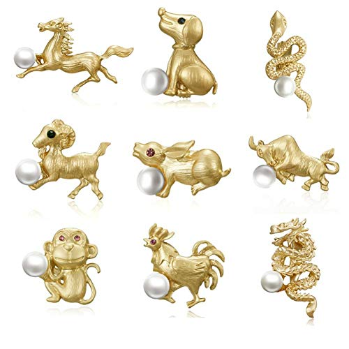 Oulensy 6pcs Pearl Cat Dog Brooch for Women Jewelry Horse Zodiac Animal Brooches Pin (random Style)