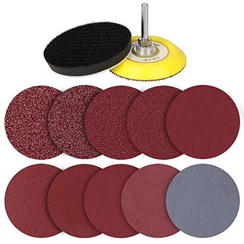 3 Inch 200 pcs Sanding Discs Pad Kit for Drill Grinder Rotary Tools, Hook and Loop Sandpaper Discs with 1/4 Inch Backer Plate Shank and Soft Foam Buffering Pad (80-3000 Grit)