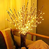 DK177 Led Branch Light Battery Operated Lighted Branch Vase Filler Willow Tree Artificial Little Twig Power Brown 30 Inch 20 LED for Home Romantic Decoration, Pack of 2, Warm White