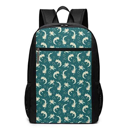 AOOEDM Axolotls Green 17 Pulgadas Mochila para portátil Mochila básica para Ordenador para Mujeres y Hombres