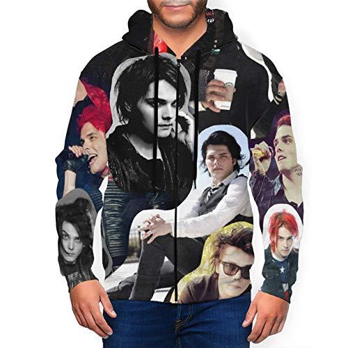 Gerard Way Men's Full Zip Sweatshirt, Active Hooded Jacket Black