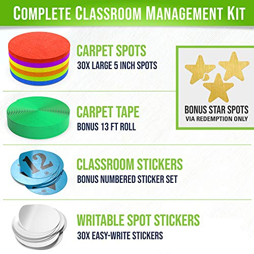 Carpet Spots for Classroom - 30 Pack of 5 inch Carpet Markers - Improves Student Learning & Includes Bonus Hook Tape, Sticker Seat Spots, Blank Spot Labels by GrowBrights