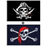 Aimto 3x5 FT CrossKnife Flag and Jolly Roger (Red Scarf) Flag - Bright Colors Anti-Fading Materials - Pirate Flags Polyester Canvas Brass Buttonhole - Quality Assurance