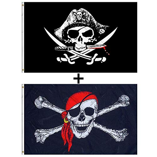 Aimto 3x5 FT CrossKnife Flag and Jolly Roger (Red Scarf) Flag - Pirate Party Supplies Halloween Decorations Banners - Pirate Flags Polyester Canvas Brass Buttonhole
