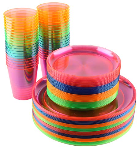 Disposable Neon Party Essentials- Plates + Cups Set| 40 Pack| Assorted Neon Colors, Plastic Party Serving Supplies for Snacks, Cake, Dessert | For Kids/Adults Birthdays, Bachelorettes, Gender Reveal