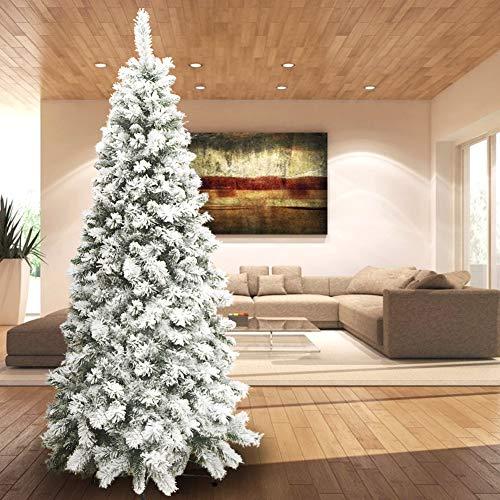 BAKAJI Albero di Natale Pino Innevato Super Folto Base a Croce in Ferro Pieghevole Altissima Qualita' Effetto Realistico con Neve (210 cm)